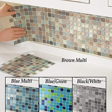 Load image into Gallery viewer, Collections Etc Multi-Colored Adhesive Mosaic Backsplash Tiles for Kitchen and Bathroom - Set of 6, Brown Multi - zingydecor