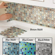"Load image into Gallery viewer, Mosaic Peel & Stick 10"" x 10"" Backsplash Kitchen Bathroom DIY Wall Tiles - Set Of 6, Brown Multi - zingydecor"