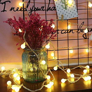 RaThun Globe String Lights, 49ft 100 LED Warm White Waterproof Decorative Fairy String Lights Perfect for Indoor and Outdoor Use,Plug in String Lights with 29V Low Voltage Transformer - zingydecor