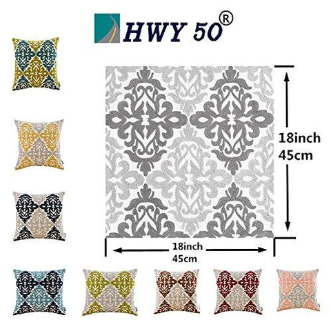 Image of HWY 50 Couch Pillows Covers 18 x 18 inch , Cotton Canvas Embroidered Home Decorative Grey Geometric Throw Pillows Cases For Sofa / Bed Euro Farmhouse Cushion Covers , Gray Decor Floral Pattern