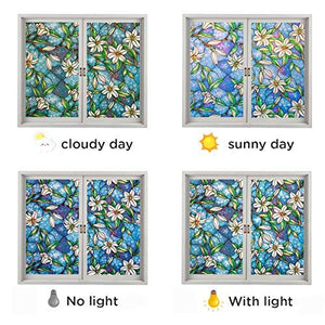 Non-Adhesive Static Frosted Window Film Stained Glass Window Film Privacy Film for Home Bathroom Living Room - zingydecor
