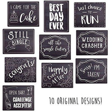 Wedding Photo Booth Sign Props - Set of 5 - Double Sided, Chalkboard Style Hard Plastic Prop Signs - zingydecor