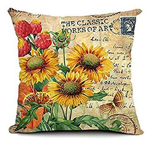 "1 X 18 X 18"" Sunflower Cotton Linen Decorative Throw Pillow Cover Cushion Case Cloth Art Toy Pillow Case - zingydecor"