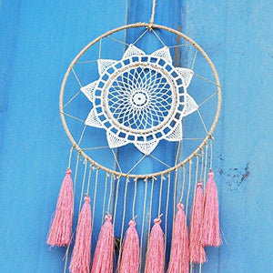 Artilady 8inch handmade tassel dream catcher wall decoration (pink) - zingydecor