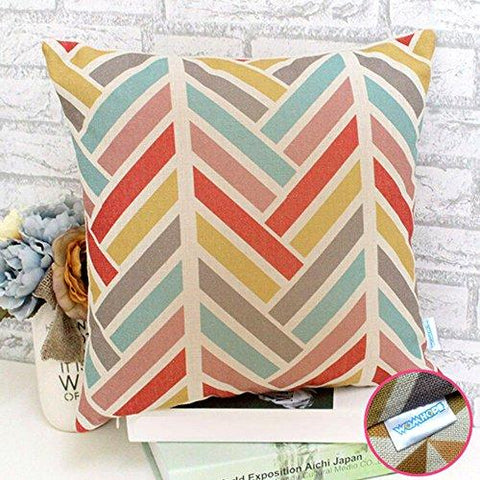 Image of WOMHOPE 4 Pack - 17 x 17 Inch Colorfull Stripe Vintage Style Cotton Linen Square Throw Pillow Case Decorative Cushion Cover Pillowcase Cushion Case for Sofa,Bed,Chair,Auto Seat (C (Set of 4))