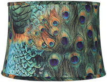 Load image into Gallery viewer, Peacock Print Drum Lamp Shade 14x16x11 (Spider)