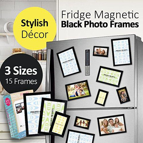 "Magnetic Picture Frames, Photo collage Frame for Refrigerator, Hold 4 x 6"", 3.5 x 5"", 2.5 x 3.5"" Photos on Dishwasher, School Locker, Magnetic Board and other Metallic surfaces, 15 Pack, Black"