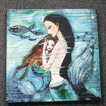 Modern Oil Painting Print Art Animal Painting Mermaid Pattern on Canvas Wall Art Home Decoration Unframe 20 x 20 in