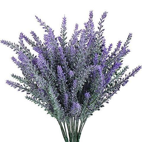 Image of Gtidea 4pcs Artificial Flocked Lavender Bouquet in Purple Flowers Arrangements Bridal Home DIY Floor Garden Office Wedding Decor