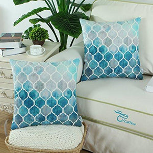 Pack 2 CaliTime Cushion Covers Throw Pillow Cases Shells, Manual Hand Painted Colorful Trellis Chain Print Both Sides, 18 X 18 Inches - zingydecor