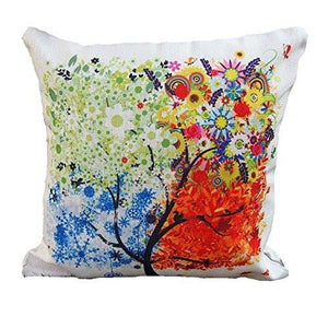 "18 ""X18 "" Decorative Cotton Linen Square Throw Pillow Case Cushion Cover Throw Pillow Shell Pillowcase for Sofa - Colorful Tree - zingydecor"