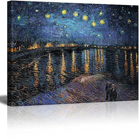 "Image of Canvas Print Wall Art - Starry Night over The Rhone by Vincent Van Gogh Reproduction on Canvas Stretched Gallery Wrap. Ready to Hang - 24""x32"""