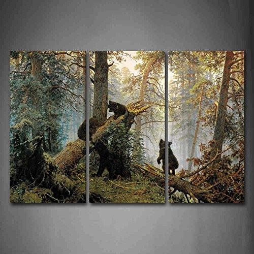 Bears Play In Forest Broken Tree Wall Art Painting The Picture Print On Canvas Animal Pictures For Home Decor Decoration Gift