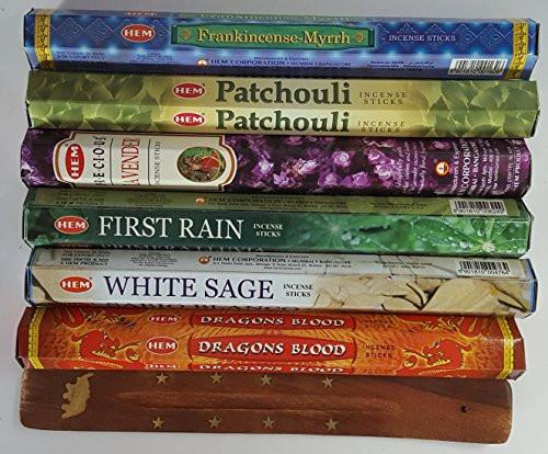 Six Most Popular HEM Incense Scents Of All Time, 120 Sticks Total, With Free Burner - 20 Sticks Each of Dragon's Blood, Frankincense & Myrrh, Patchouli, Precious Lavender, First Rain, and White Sage - zingydecor