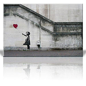Canvas Print Wall Art - There is always hope - Girl and red heart balloon - Street Art - Guerilla - Banksy Street Artwork on Canvas Stretched Gallery Wrap. Ready to Hang - 24 x 36 inches - zingydecor