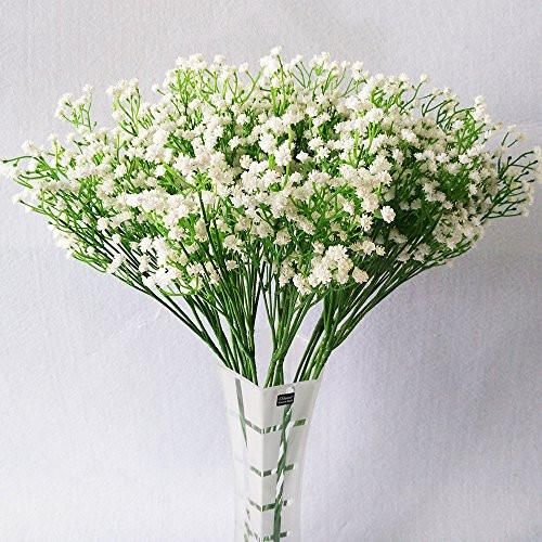 10Pcs Baby Breath/Gypsophila Artificial Fake Silk Plants Wedding Party Decoration Real Touch Flowers DIY Home Garden (White) - zingydecor