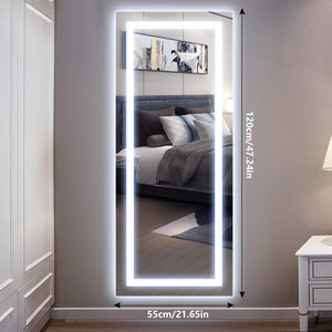 Vertical 47x22 Inch Wall Mounted LED Lighted Vanity Mirror with Aluminum Frame Backlit, Bedroom and Bathroom Hanging Rectangle Whole Body Mirror