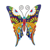 Colorful Metal Mexican Talavera Style Garden Wall Art, Butterfly