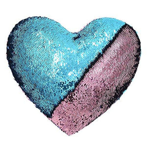 Mermaid Throw Pillows,Two-color Reversible Sequins Mermaid Heart-Shaped Pillow Cover with Insert 13''×15''