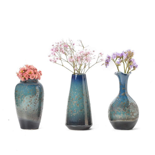 CHP Ceramic Flower Vases Set of 3, Special Design Style of Flambed Glazed,Decorative Modern Floral Vase for Home Decor Living Room Centerpieces and Events