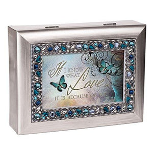 I Know What Love is Because of You Decorative Jewel Musical Music Jewelry Box - Plays You Light Up My Life