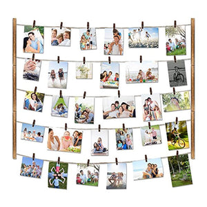 Love-KANKEI Wood Picture Photo Frame for Wall Decor 26×29 inch - With 30 Clips & Ajustable Twines - Collage Artworks Prints Multi Pictures Organizer & Hanging Display Frames - zingydecor