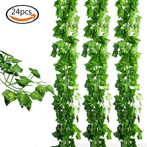 24pcs (157 Feet) Artificial Greenery Fake Ivy Leaves Garland Hanging for Wedding Party Garden Wall Decoration - zingydecor