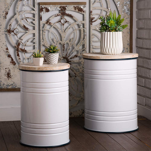 Rustic Storage Bins Metal Stool Ottoman Seat with Round Wood Lid Set of 2