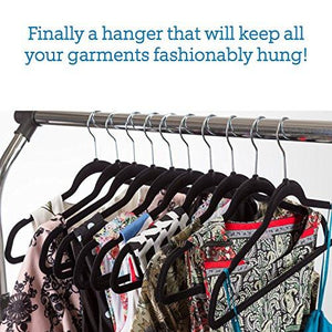 Zober Premium Quality Space Saving Velvet Hangers Strong and Durable Hold Up To 10 Lbs - 360 Degree Chrome Swivel Hook - Ultra Thin Non Slip Suit Hangers, Black - 50 pack - zingydecor