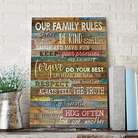 Marla Rae 12 Inch By 18 Inch Country Wood Our Family Rules Wall Art