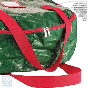 Zober Wreath Storage Bag - Tear Resistant Material Storage Bag for Wreath Storage with Sleek Zipper Featuring Transparent Card Slot for Labeling | 24 x 24 x 7 (Green) - zingydecor