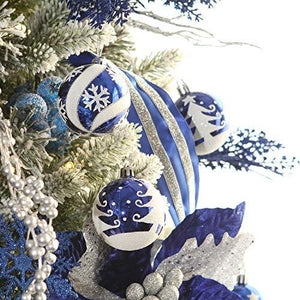 "Sea Team 60mm/2.36"" Delicate Painting & Glittering Shatterproof Christmas Ball Ornaments Decorative Hanging Christmas Ornaments Baubles Set for Christmas Tree - 24 Counts (Blue) - zingydecor"