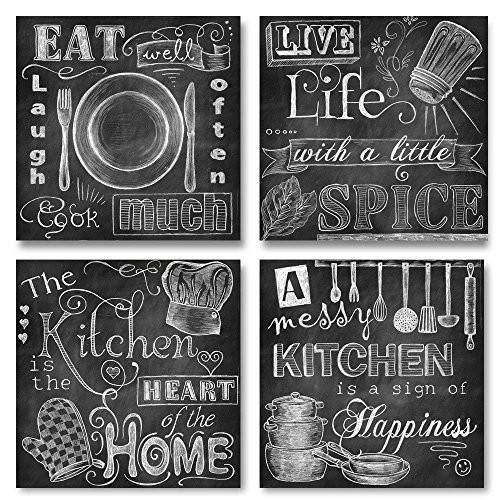 Beautiful, Fun, Chalkboard-Style Kitchen Signs; Messy Kitchen, Heart of the Home, Spice of Life, and Cook Much; Four 12x12in Paper Prints (Printed on paper and made to look like chalkboard) - zingydecor