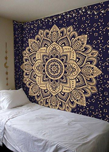 New Launched Blue Gold Passion Ombre Mandala Tapestry By Madhu International, Boho Mandala Tapestry, Wall Hanging, Gypsy Tapestry, Multicolor, 85 X 89 inches