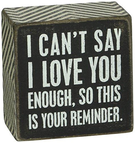 Image of Primitives by Kathy Box Sign, 3 by 3-Inch, I Love You - zingydecor
