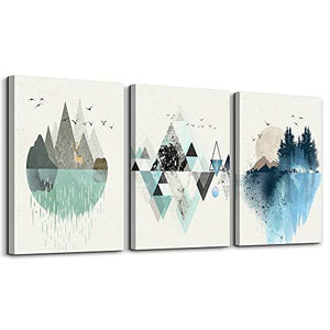 Abstract Mountain in Daytime Canvas Prints Wall Art Paintings Abstract Geometry Wall Artworks Pictures for Living Room Bedroom Decoration, 12x16 inch/piece, 3 Panels Home Wall decor - zingydecor
