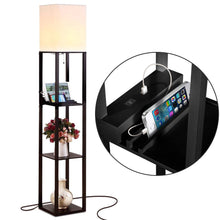 Load image into Gallery viewer, Brightech Maxwell Charger - Shelf Floor Lamp with USB Charging Ports & Electric Outlet - Tall & Narrow Tower Nightstand for Bedroom - Modern, Asian End Table with Light Attached - White