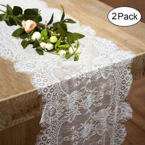 2 Pack Lace Table Runner 12 × 120 Inch White Classy for Rustic Boho Wedding Bridal Shower Party Decorations, Rose Vintage Embroidered Reception Table Runners Decor - zingydecor