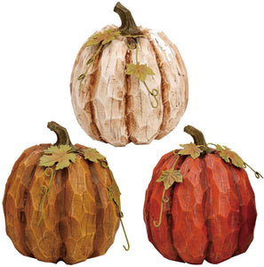 Rustic Fall Small Pumpkin Trio - Set of 3