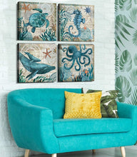 Load image into Gallery viewer, Bathroom Home Decor Turtle Canvas Wall Art Octopus Seahorse Dolphin Beach Posters Decorations Set for Kitchen Teal Ocean Animal Paintings Artwork Pictures Stretched and Framed 12 x 12 Inch x 4 Pcs - zingydecor