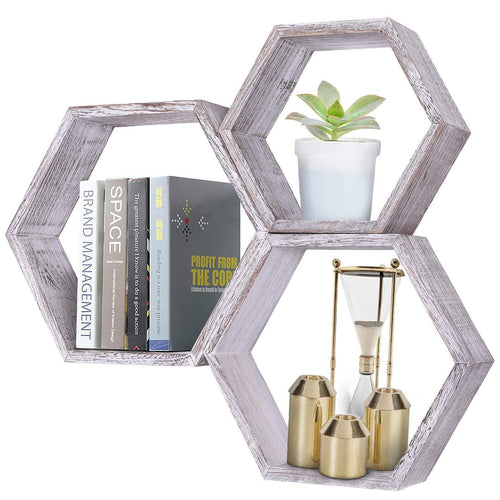 Comfify Rustic Wall Mounted Hexagonal Floating Shelves Set of 3, Farmhouse Shelves for Bedroom, Living Room and More – Honeycomb Wall Décor