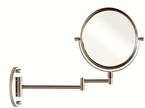 Image of DecoBros 9.8-Inch Two-Sided Swivel Wall Mount Mirror with 7x Magnification, 13.5-Inch Extension, Nickel