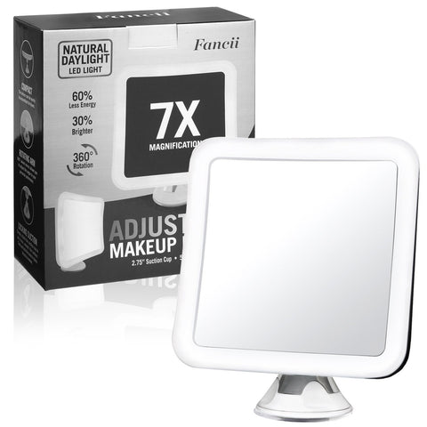 "Image of Fancii 7X Magnifying LED Lighted Makeup Mirror with Strong Suction Cup - 6.5"" wide, Natural Daylight, Cordless Portable Vanity Mirror with Light (Square)"