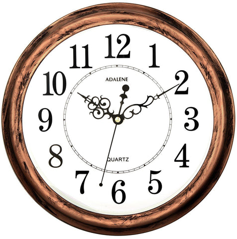 Image of Adalene 13 Inch Large Non Ticking Silent Wall Clock Decorative, Battery Operated Quartz Analog Quiet Wall Clock, For Living Room, Kitchen, Bedroom