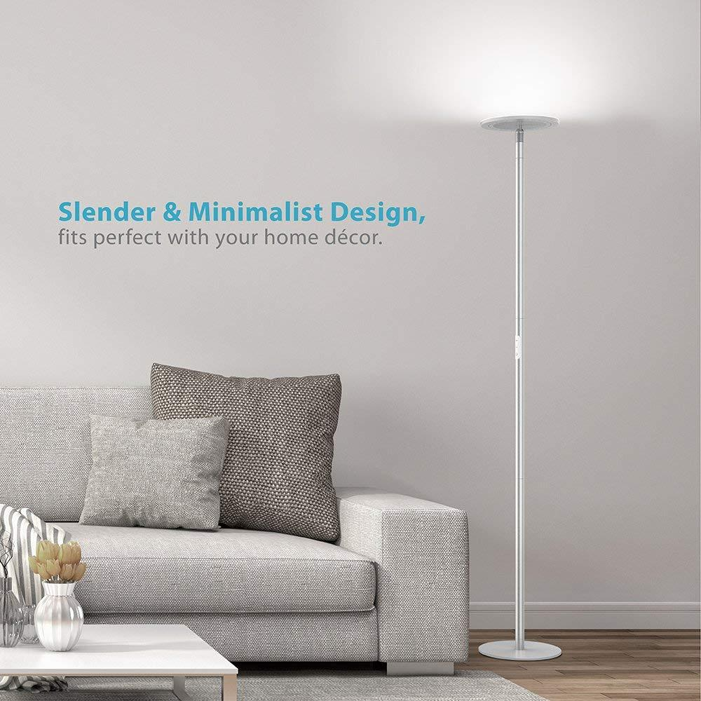TROND Halo X LED Torchiere Floor Lamp Dimmable 30W, 5500K Natural Daylight (Not Warm Yellow), Max. 5000lm, 71-Inch, 30-Minute Timer (Silver)