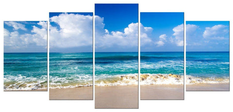 Image of Pyradecor Seaside Modern Stretched and Framed Seascape 5 panels Giclee Canvas Prints Artwork Landscape Pictures Paintings on Canvas Wall Art for Home Decor - zingydecor