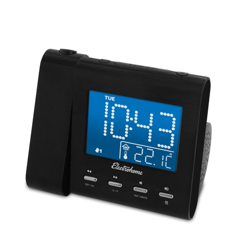 Image of Electrohome EAAC601 Projection Alarm Clock with AM/FM Radio, Battery Backup, Auto Time Set, Dual Alarm, Nap/Sleep Timer, Indoor Temperature/Day/Date Display with Dimming, 3.5mm Audio Connection