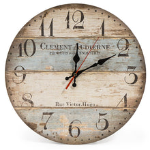 Load image into Gallery viewer, LOHAS Home 12 Inch Silent Vintage Wooden Round Wall Clock Arabic Numerals Vintage Rustic Chic Style Wooden Round Home Decor Wall Clock (Victor Hugo)