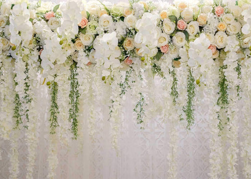White 3D Rose Floral Photo Backdrops Bridal Shower Large Wedding Flowers Wall Background for Photography Dessert Table Decoration Blush Vinyl Backdrops Studio Props 7x5FT - zingydecor