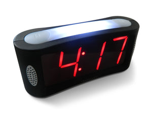 Travelwey LED Digital Alarm Clock - No Frills Simple Operation, Large Night Light, Alarm, Snooze, Brightness Dimmer, Big Red Digit Display, Black